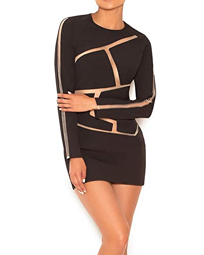 UONBOX Women's Geometric Long Sleeves Mesh Spliced Clubwear Mini Crepe Bandage Dress