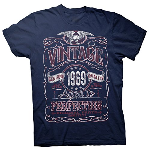 (50th Birthday Gift Shirt - Vintage Aged to Perfection 1969 - Navy-003-Lg)