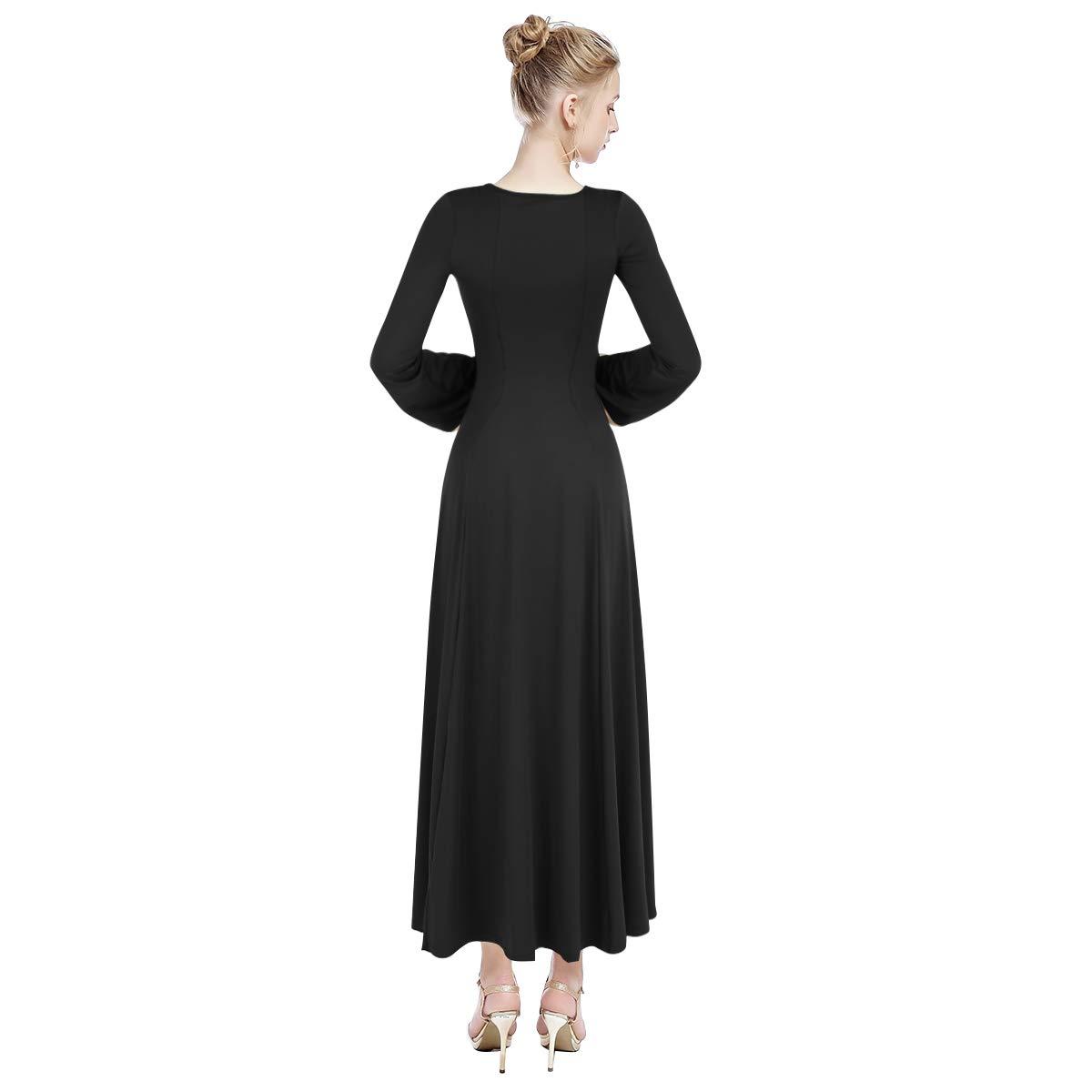be9e65964b4 Amazon.com  IMEKIS Women Metallic Color Block Praise Dance Dress Liturgical  Full Length Swing Gowns Long Sleeve Dancewear Worship Costume  Clothing