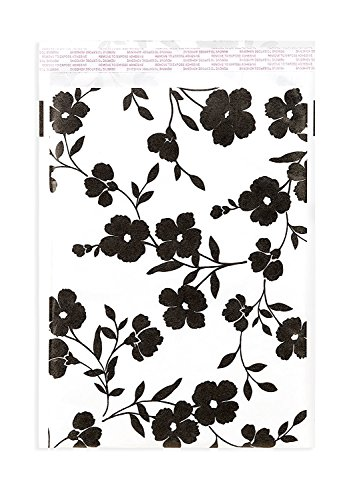 Bubble Mailers 9x12 (8x11.5 interior) - Kraft Paper Padded Envelopes - Black Floral Pattern Print - Packs of 25-1000 (200) by Inspired Mailers