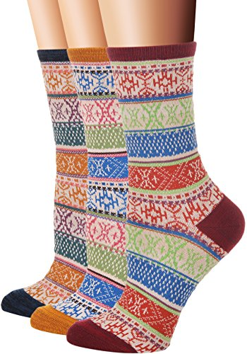(Flora&Fred Women's 3 Pair Pack Vintage Style Ethnic Cotton Crew Socks)