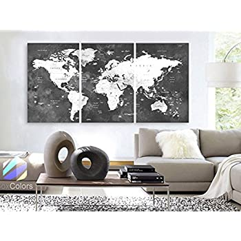Amazon black ice world push pin travel map with pins 24 x 36 original by boxcolors large 30x 60 3 panels 30x20 ea gumiabroncs Gallery