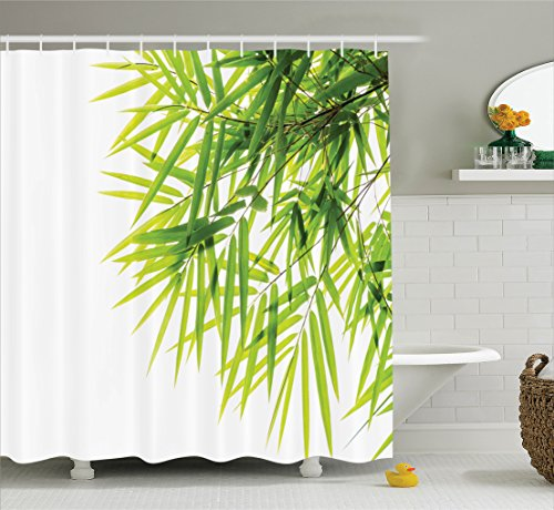 Ambesonne Bamboo House Decor Shower Curtain Set, Bamboo Leaf Illustration  Icon For Wellbeing Health Fresh