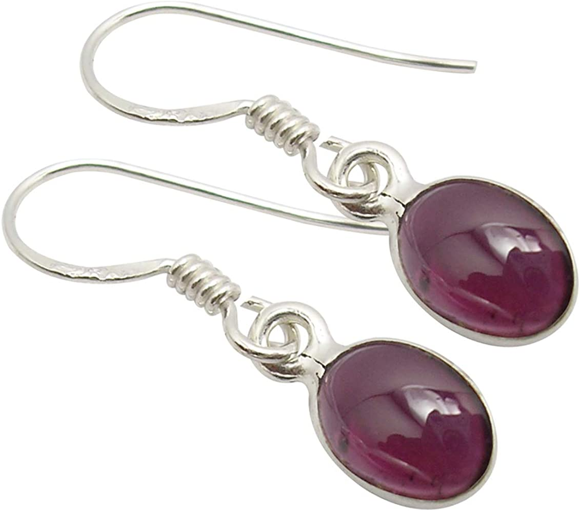 SilverArt Handmade Earring Garnet 925 Sterling Silver Plated Jewelry for Womens and Girls