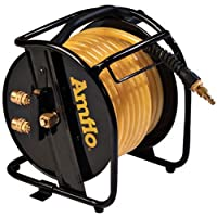 """Amflo 545HR-RET Manual Hose Reel With 200 PSI 3/8"""" x 75' Polyurethane Gold Air Hose With Dual Output Fittings"""