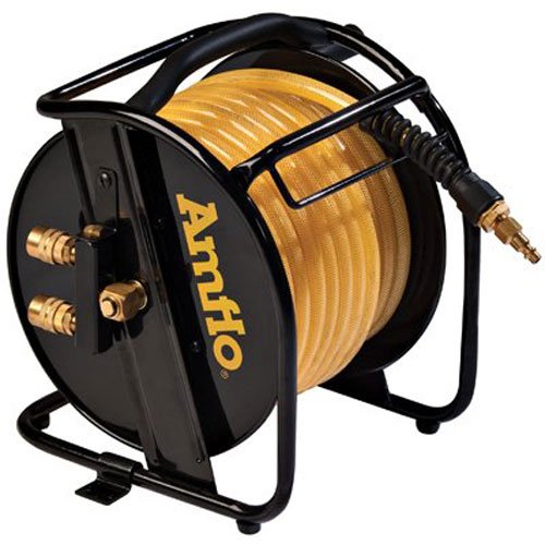 Amflo 545HR-RET Manual Hose Reel With 200 PSI 3/8'' x 75'  Polyurethane Gold Air Hose With Dual Output Fittings by Amflo (Image #3)