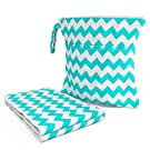Layaloo Wet Bag & Change Pad Set - Waterproof Zippered Wet/Dry Bag - Portable Diaper Changing Pad - Beach Bum Chevron