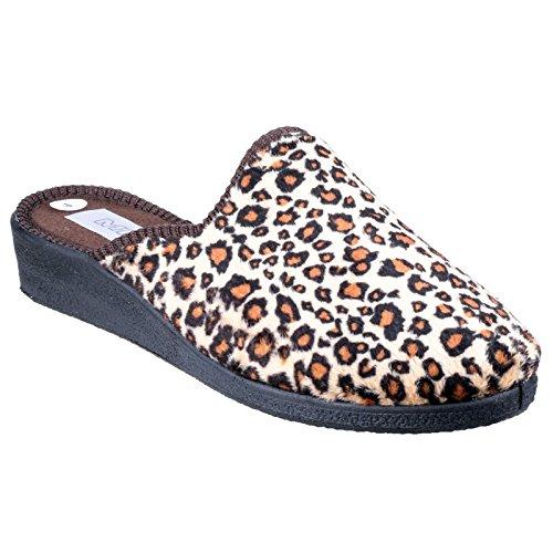 Mirak Mirak clásico para mujer con Mule Slipper en color marrón Velour Slipper Mule Blanco - leopardo