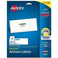 """Etiquetas de dirección Avery con alimentación segura para impresoras de inyección de tinta, 1-1 /3 """"x 4"""", 350 etiquetas, adhesivo permanente (8162), blanco"""