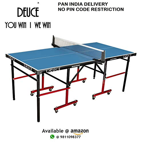Fieldsheer DEUCE Mini Table Tennis Table 6*3 feet with 18 mm Both Side Laminated top and 50 mm Wheel (2 TT bat, 3 Balls and 1 Cover) Price & Reviews