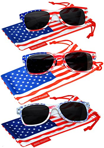 Classic American Patriot Flag Sunglasses Smoke Lens USA American Flag White Clear Ice Denim Frame OWL