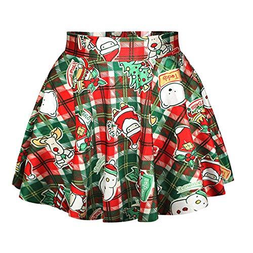 LaSuiveur Women's Santa Snowman Print Plaid Stretchy Flared Pleated Mini Skirt -