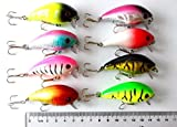 """Hengjia 8pcs/lot Deep Water Runner Shad Crankbaits Hard Diving Fishing Lures Tackle for Sea Bass Trout 6cm/2.36""""/9.8g"""