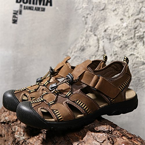 Breathable Baotou 43 Size Summer Outdoor Brown Color Men's Beach Large Leather Green Sandals Size Shoes Casual Men's Coffee Sports Shoes B HUAN 2018 for Shoes 4qf7Sw