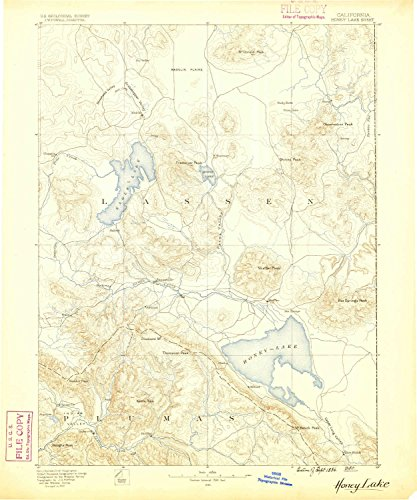 Madeline Honey (Honey Lake CA topo map, 1:250000 scale, 1 X 1 Degree, Historical, 1886, 19.8 x 16.5 IN - Polypropylene)