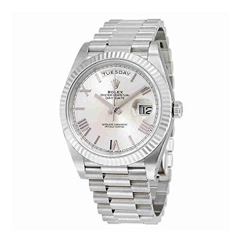Rolex Mens President Watch (Rolex Day-Date 40 Silver Quadrant Motif Dial 18K White Gold President Automatic Mens Watch 228239SQRSP)