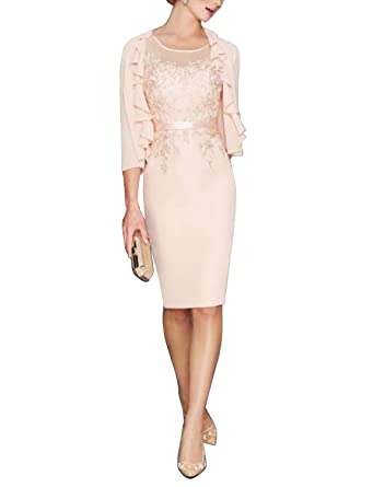 Newdeve Mother Of The Bride Dresses With Jacket Blush Slim Wedding