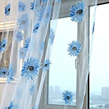 Wrisky Sunflower Voile Curtain Window Flower Tulle Curtain For Living Room Kitchen (Blue)