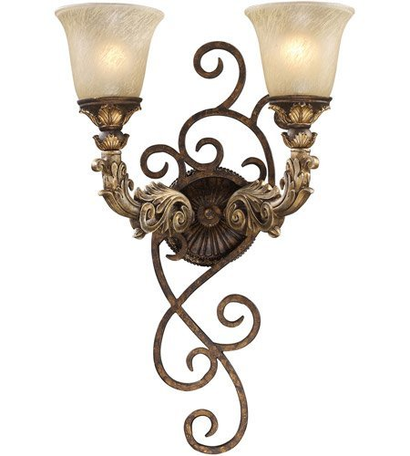 Wall Sconces 2 Light With Burnt Bronze And Gold Leaf Finish Medium Base 6 inch 120 Watts - World of Lamp (Leaf Gold Sconce Burnt)