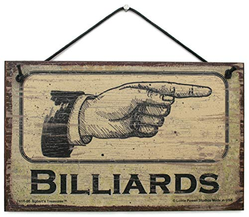 (Egbert's Treasures 5x8 Vintage Style Sign Pointing Right Saying, BILLIARDS Decorative Fun Universal Household Signs from)