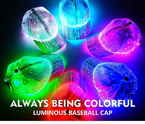 (Luminous LED Baseball Cap 7 Light Up Colors 4 Different Light Modes Rave Accessory Costume Party)