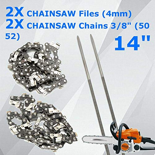 Diamond Emery - New Durable 4pcs Chainsaw Files 50 52 Chains For 14'' 335 338 435 438 463 By Ganos