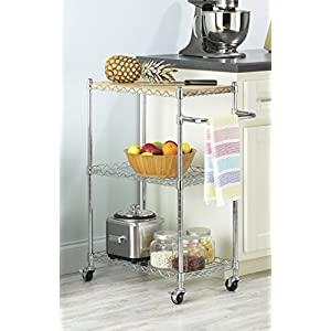 Whitmor Supreme Kitchen and Microwave Cart Wood