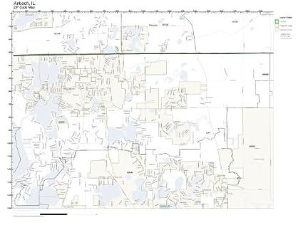 Antioch Il Zip Code Map.Amazon Com Zip Code Wall Map Of Antioch Il Zip Code Map Laminated