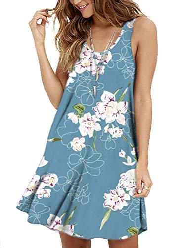 (MOLERANI Women's Floral Summer Casual T Shirt Dresses Beach Cover up Plain Pleated Tank Dress New Floral Light Blue M)