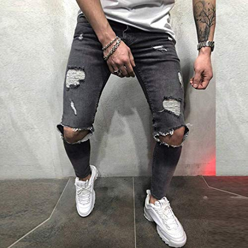 Slim Jeans Stile Da Pantaloni Vintage Distressed Grau Fit Ripped Sfilacciato Denim Uomo Casual Semplice Stretch Fashion pvwTqpS1