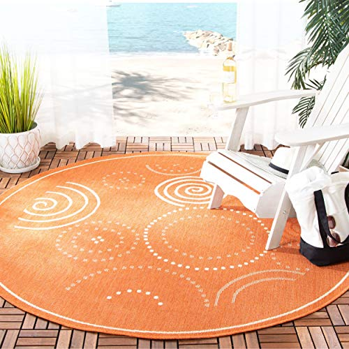 Safavieh Courtyard Collection CY1906-3202 Terracotta and Natural Indoor/ Outdoor Round Area Rug (6'7