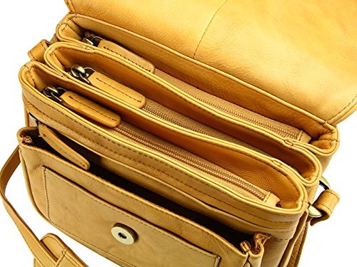 Shoulder Soft Sand Leather Visconti Handbag Body Organiser Womens 2194 Across Bag P5qq0vy