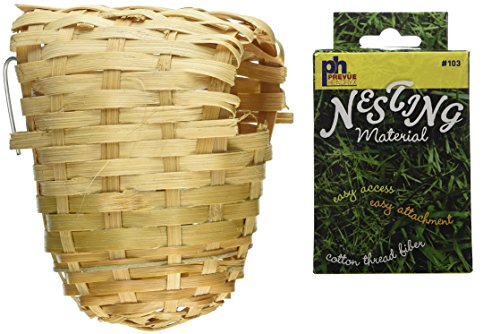 Prevue Pet Products Bamboo Covered Finch Bird Twig Nest, Plus a Box of Cotton Thread Fibers Bird Nesting Material