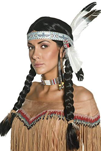 Smiffy's Women's Native Indian Wig, Black with Braids and Feather Headband, One Size, (Women Indian Halloween Costumes)