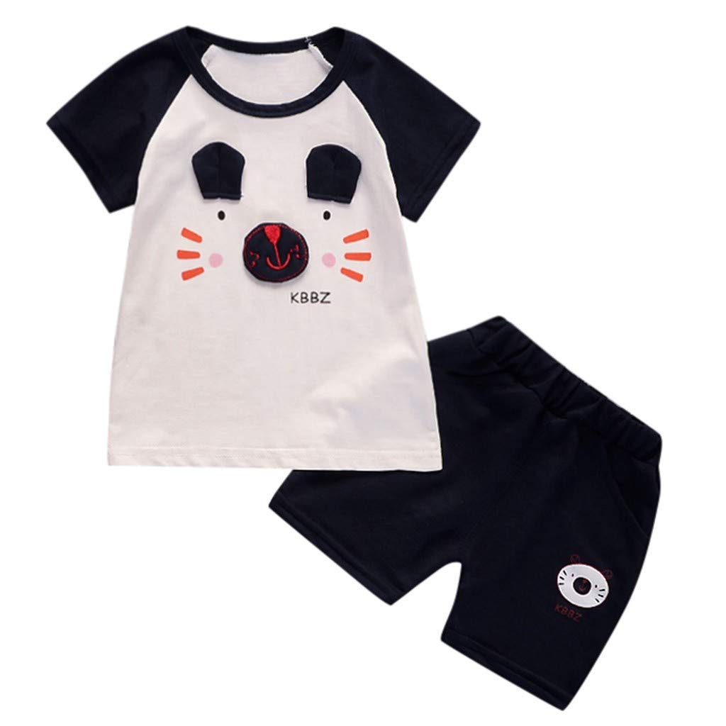 Lavany Little Boys Girls Clothes Set 2pc Short Sleeve Bear Print Tops+Shorts Outfits Navy