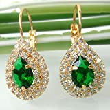 Navachi-18k-Gold-Plated-Water-Drop-Green-Zircon-Crystal-Leverback-Earrings