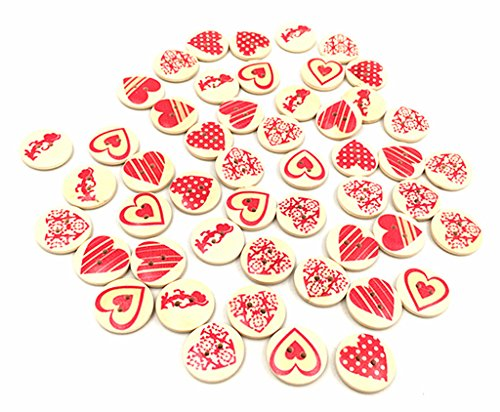Kinteshun Wooden Buttons Round Natural Wood 2-Holed Fastener Buttons for Sewing Knitting Handcraft(100pcs,Off-White,Assorted Red Hearts Patterns)