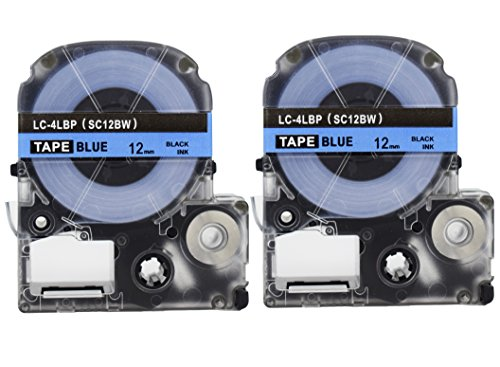 Blue Ribbon Cartridge - 2PK Onirii Compatible Epson Labelworks Label Tape Cartridge LW-300 LW-400 LW-500 LW-600 LC-4LBP4(LK-4LBP) Black On Blue Label Maker Tape Refill Cartridge 12mmx26.2ft