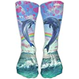 Couple Dolphin Draw A Heart Printed Men's/Women's 11.8 Inch Cotton Crew Socks