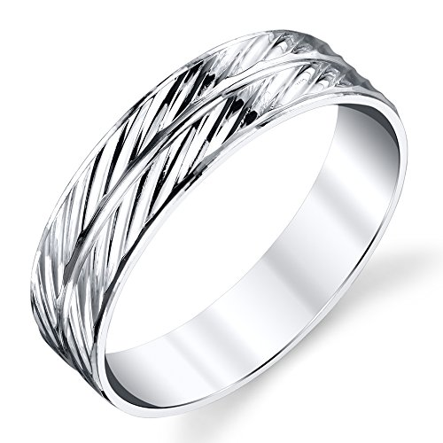 925 Sterling Silver Mens Wedding Band Ring Double Row Diagonal Lines (Double Row Engraved Band)
