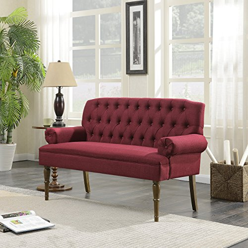 (Belleze Mid-Century Upholstered Wood Legs, Vintage Sofa Settee Bench with Linen Fabric Button Tufted, Burgundy)