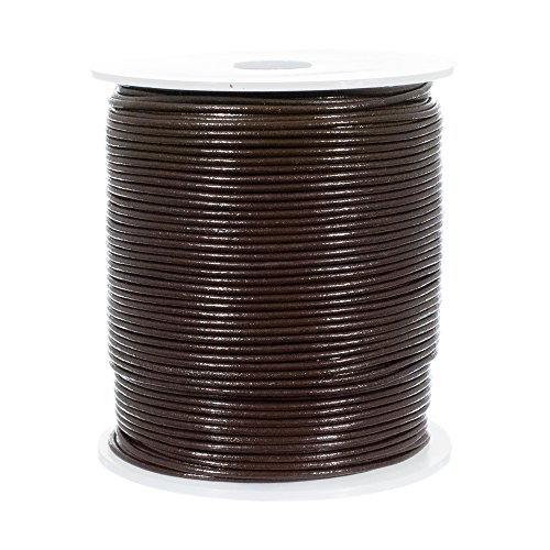 1.5 MM Dark Brown Distressed Round Leather Cord for Round Bracelets, Necklaces - Plain Genuine Leather Cord 25 Yards