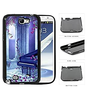 Beautiful Piano Under Blue Moonlight Sky with Pink Flowers Hard Snap on Phone Case Samsung Galaxy Note 2 N7100 hjbrhga1544