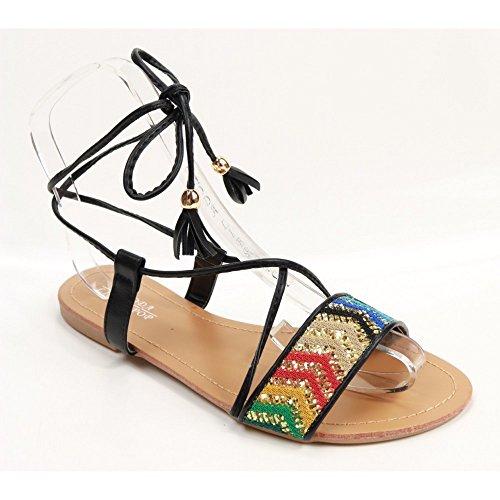 Sandales plates femme blanches à lacets bride coloré pailleté & pampilles-41