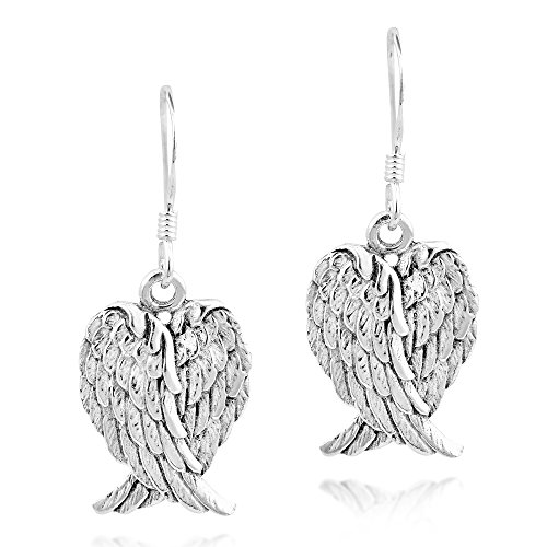 Heavenly Love Heart Shaped Angel Wings .925 Sterling Silver Dangle Earrings -
