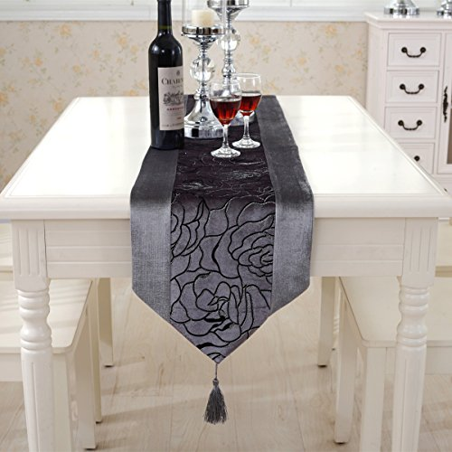 Morden grey flower embroidered blue velvet table runners tap