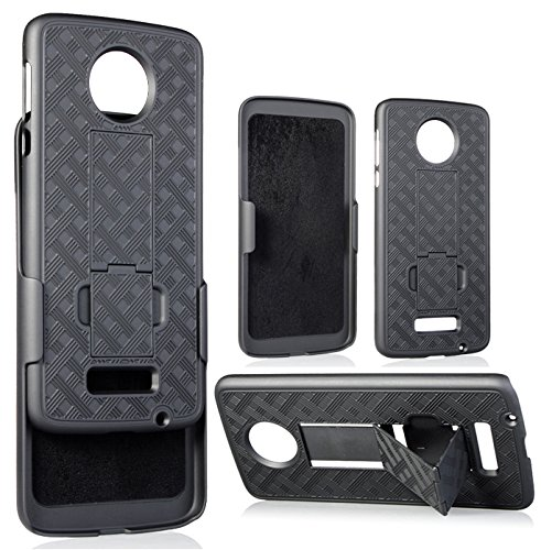 outlet store 1c982 4893f Amazon.com: Moto Z Belt Clip Case, Nakedcellphone Black Kickstand ...