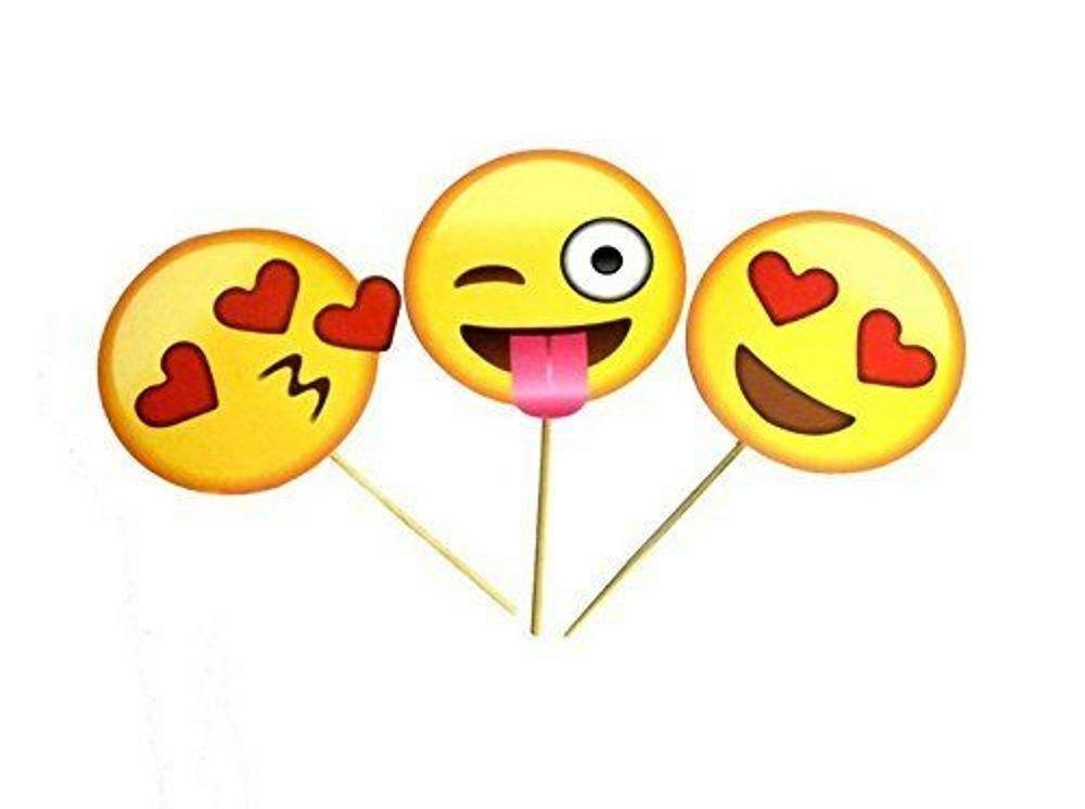 CHSYOO 12x Fournitures de F/ête de Papier Emoji Photo Ornements Photo Panneau Photo Booth Props F/ête Faveurs pour Mariage Poule Anniversaire B/éb/é Douche Enfants F/ête De No/ël Nouvel an