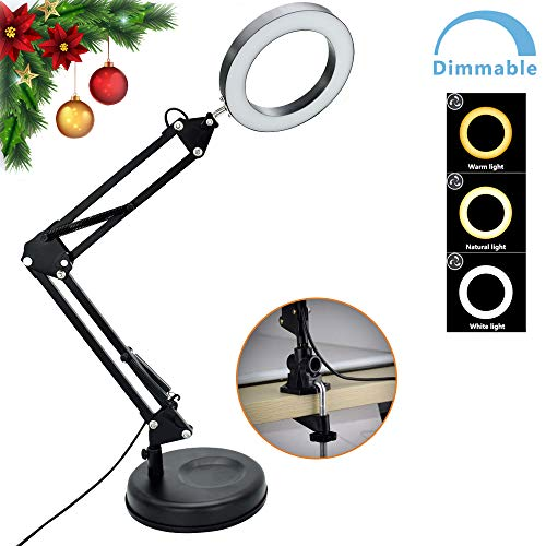 Flexible Arm Desk Lamp, Dimmable LED Work Desk Lamps-6W, Clamp-on Desk Light, Eye-Care Soft Light, Reading Lamp, Bedroom Lamps, Multi-Joint Adjustable Arm Desk lamp, Black Painted with Metal Clamp