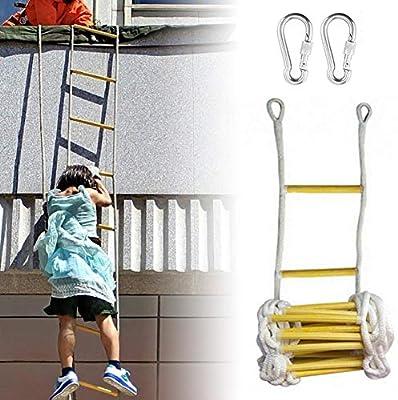 Escalera de escalera de escape, Escalera de cuerda, Escalera de cuerda de nylon de madera para exteriores con 2 hebillas, Escaleras de emergencia de incendio para niños y adultos Escape de la: